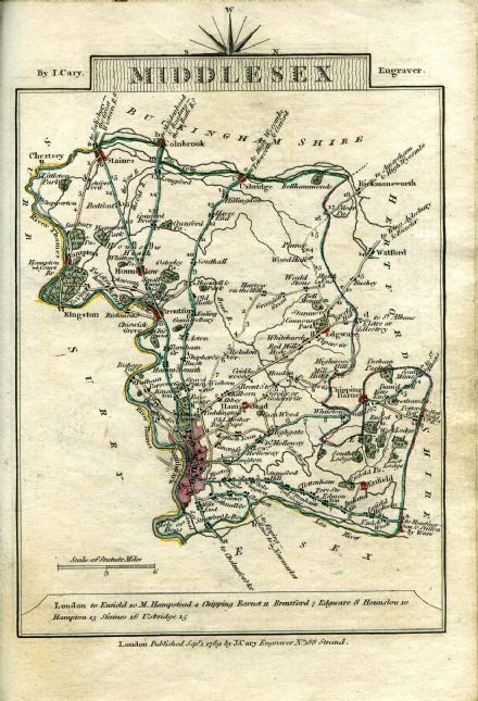 Middlesex County Map by John Cary 1790 - Reproduction